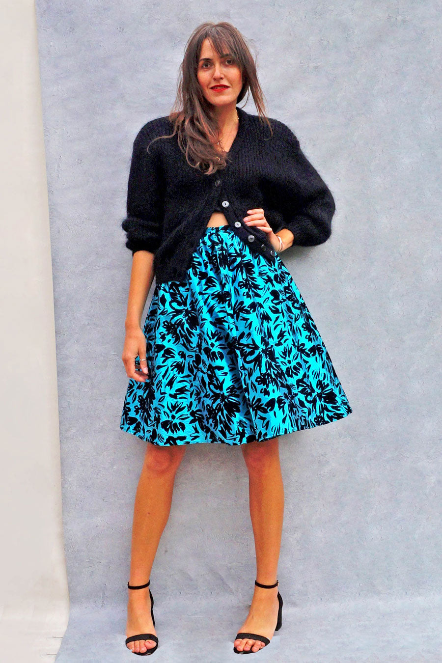 80s Metallic Blue Jacquard Cocktail Skirt - Ada's Attic Vintage -
