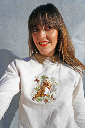 Vintage 90s Embroidered Owl Sweater - Ada's Attic Vintage -