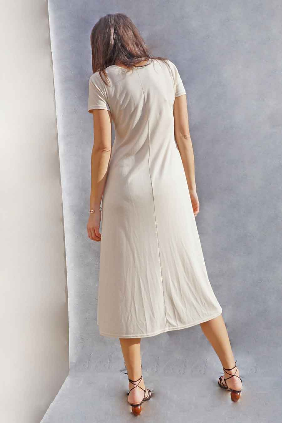 Long Cream Simple Jersey T-Shirt Dress - Casual Dresses for women - ada's attic vintage