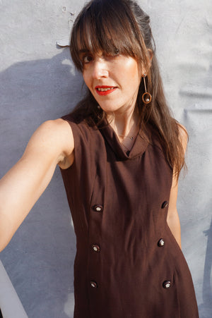 Vintage 1970's Brown Tunic Smart Work Dress - Ada's Attic Vintage - 7