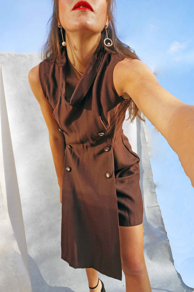 Vintage 1970's Brown Tunic Smart Work Dress - Ada's Attic Vintage -