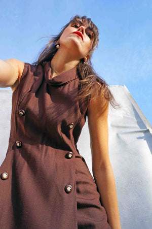 Vintage 1970's Brown Tunic Smart Work Dress - Ada's Attic Vintage - 2