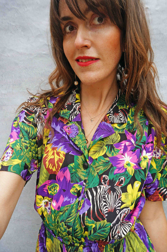 Vintage Tropical Floral Safari Shirt Dress - Ada's Attic Vintage -