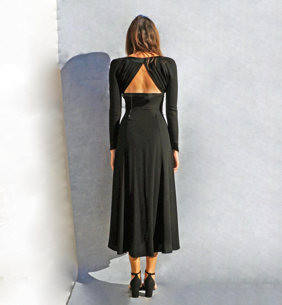 Ossie Clark Black Open Back Evening Dress - Ada's Attic Vintage - 7