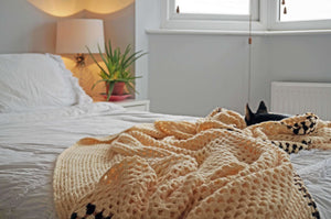 Large Cream Crochet Blanket Throw - Ada's Attic Vintage - 5