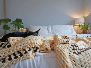 Large Cream Crochet Blanket Throw - Ada's Attic Vintage - 7