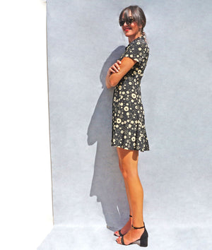 90s Silk Black Floral Max Mara Shirt Dress - Sustainable Fashion Brand UK - Ada's Attic Vintage - 3
