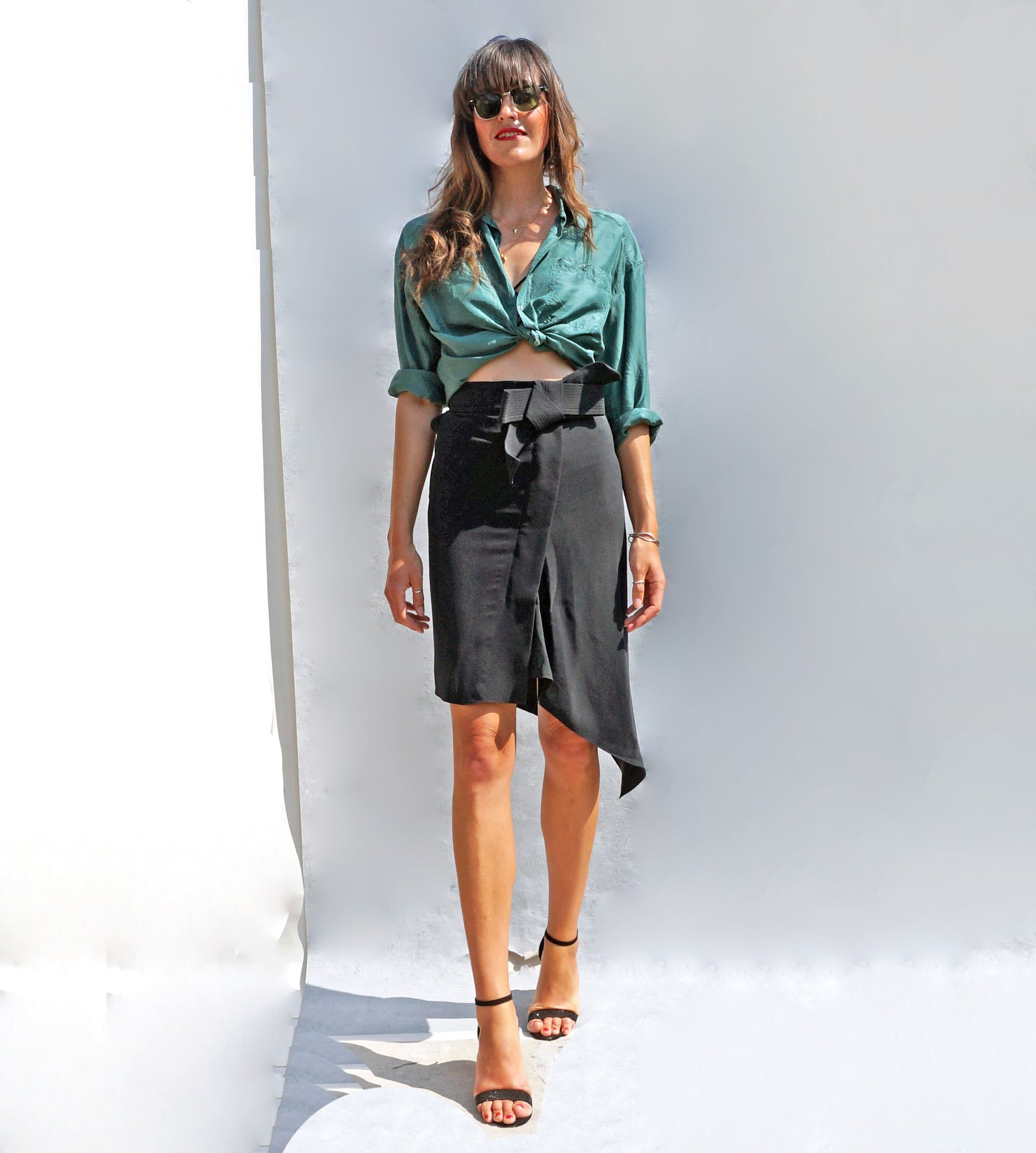 Black Lanvin Silk Bow Cocktail Skirt - Ada's Attic Vintage - 2
