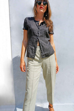 High Waisted Grey Check Pants - Ada's Attic Vintage -
