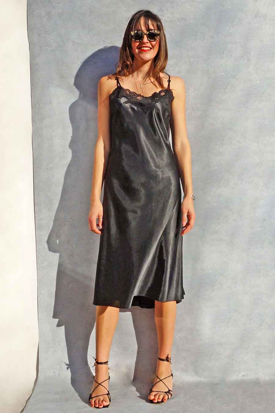 Vintage 90s Black Satin Slip Dress - vintage lingerie - ada's attic vintage