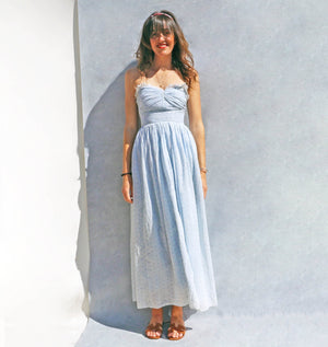 Vintage 50s Blue Cotton Broderie Anglaise Day Dress - Ada's Attic Vintage - 2