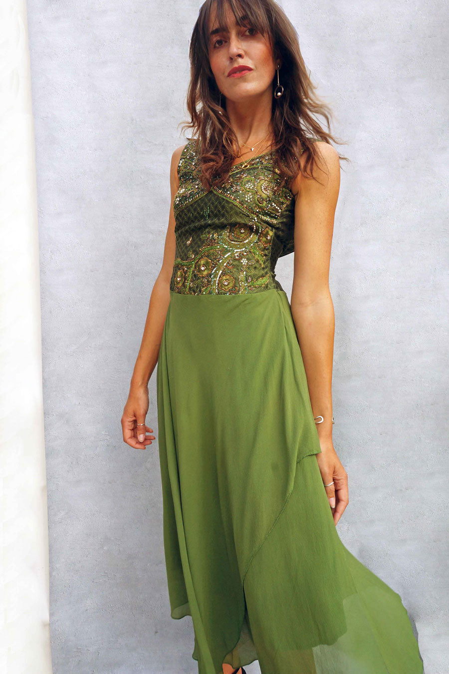Vintage 90s Floor Length Olive Green Beaded Evening Dress - Ada's Attic Vintage -