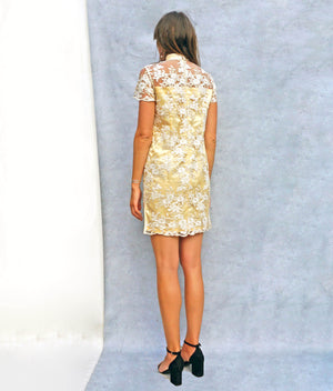 Yellow Lace Vintage Cheongsam Dress - Ada's Attic Vintage - 5