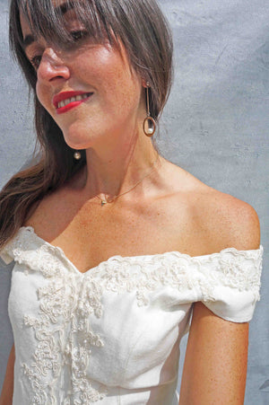 Vintage Simple Lace Bardot Wedding Dress - Ada's Attic Vintage -