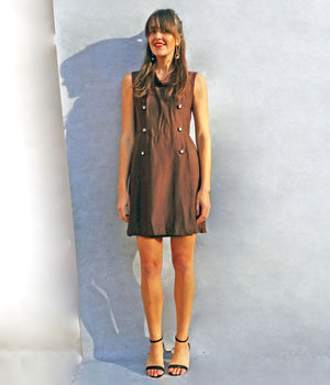 Vintage 1970's Brown Tunic Smart Work Dress - Ada's Attic Vintage - 3