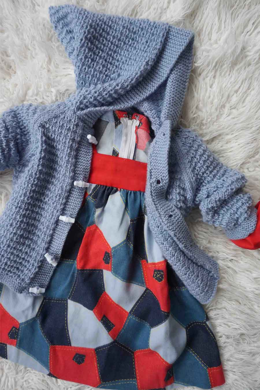 Vintage Blue Hand Knitted Hooded Toddler Cardigan - Vintage childrens clothes - ada's attic vintage