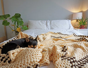 Large Cream Crochet Blanket Throw - Ada's Attic Vintage -