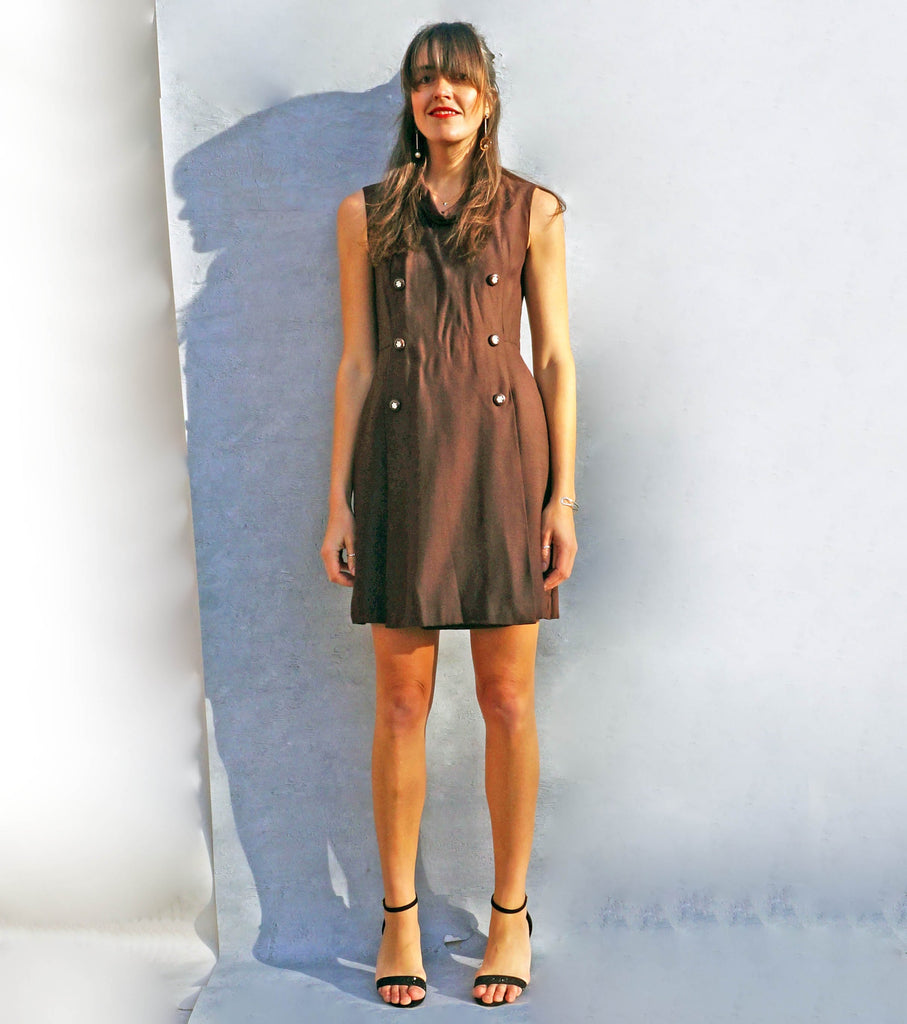 Vintage 1970's Brown Tunic Smart Work Dress - Ada's Attic Vintage - 6