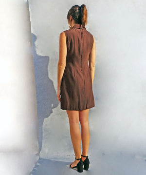 Vintage 1970's Brown Tunic Smart Work Dress - Ada's Attic Vintage - 4