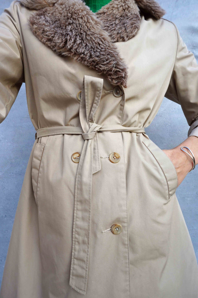 Vintage 80s Faux Fur Collar Trench Coat - Ada's Attic Vintage - 2