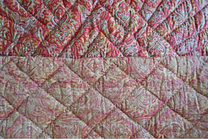 Antique 1910 Pink + Green French Paisley Boutis Quilt - Ada's Attic Vintage - 8