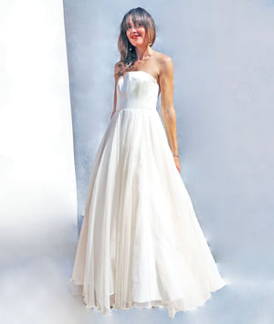 Vintage 90s Strapless Silk Ballgown Wedding Dress - Ada's Attic Vintage - 2