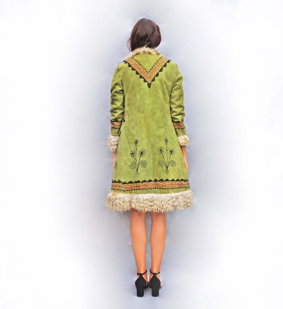 1970s Green Embroidered Afghan Coat - Ada's Attic Vintage - 4