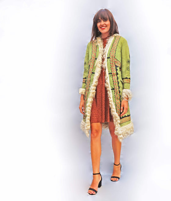 1970s Green Embroidered Afghan Coat - Ada's Attic Vintage -