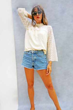 Vintage White Lace Flared Sleeve Blouse - Ada's Attic Vintage - 5