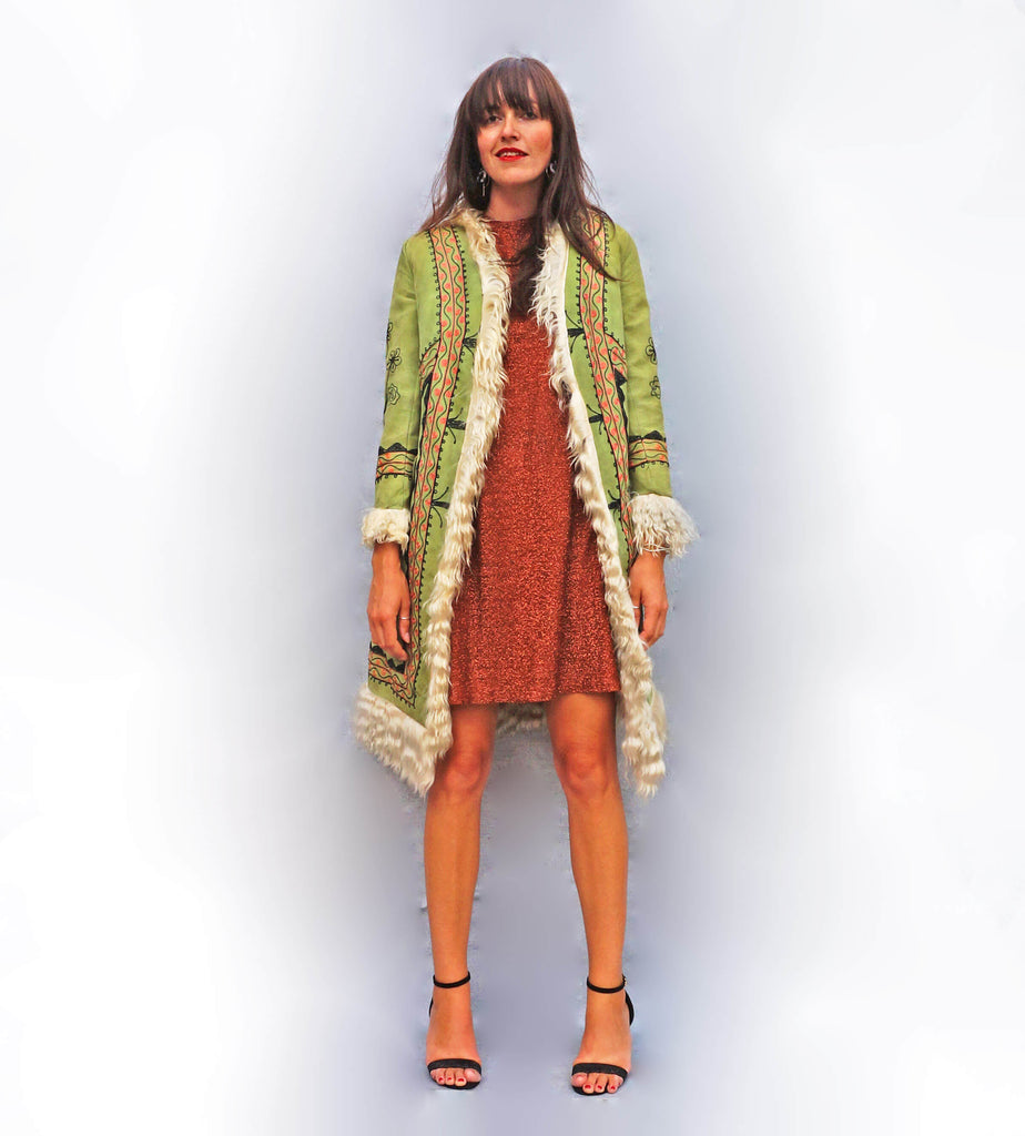 1970s Green Embroidered Afghan Coat - Ada's Attic Vintage - 8