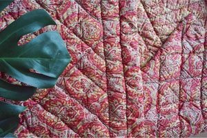 Antique 1910 Pink + Green French Paisley Boutis Quilt - Ada's Attic Vintage - 2