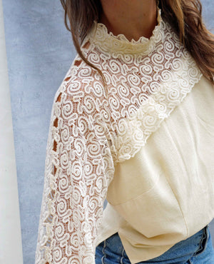 Vintage White Lace Flared Sleeve Blouse - Ada's Attic Vintage - 6