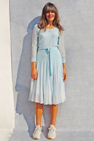 Vintage 70s Pastel Blue Crochet Sweater Dress - Ada's Attic Vintage - 1