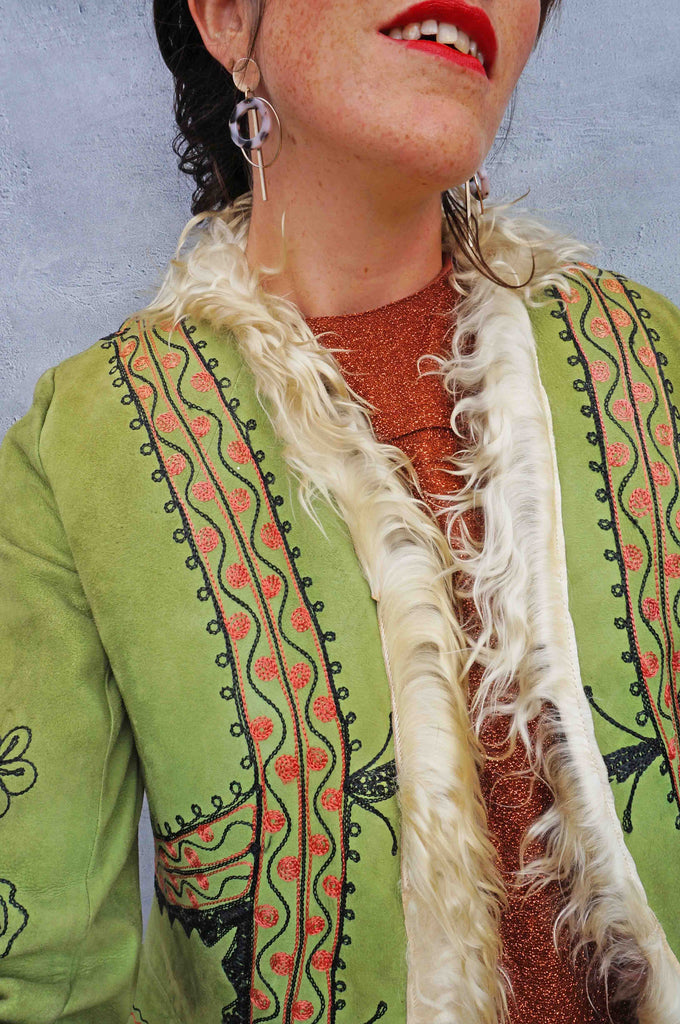1970s Green Embroidered Afghan Coat - Ada's Attic Vintage - 7