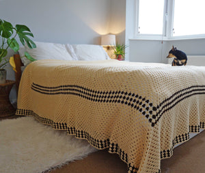 Large Cream Crochet Blanket Throw - Ada's Attic Vintage - 1