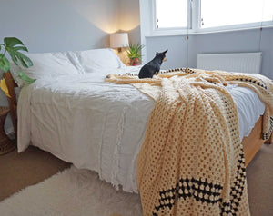 Large Cream Crochet Blanket Throw - Ada's Attic Vintage - 9