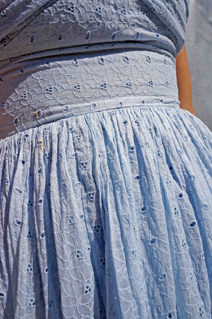 Vintage 50s Blue Cotton Broderie Anglaise Day Dress - Ada's Attic Vintage - 3