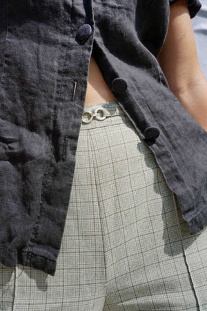 High Waisted Grey Check Pants - Ada's Attic Vintage - 5