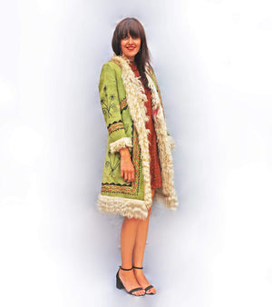 1970s Green Embroidered Afghan Coat - Ada's Attic Vintage - 2