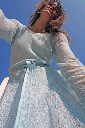 Vintage 70s Pastel Blue Crochet Sweater Dress - Ada's Attic Vintage -