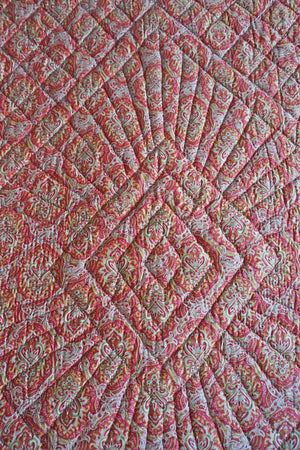 Antique 1910 Pink + Green French Paisley Boutis Quilt - Ada's Attic Vintage - 6