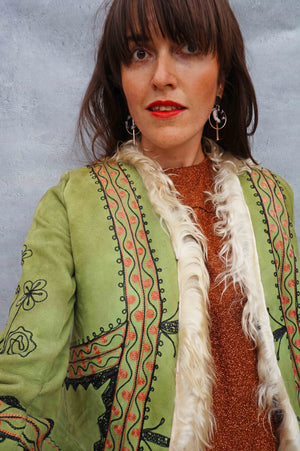 1970s Green Embroidered Afghan Coat - Ada's Attic Vintage - 9