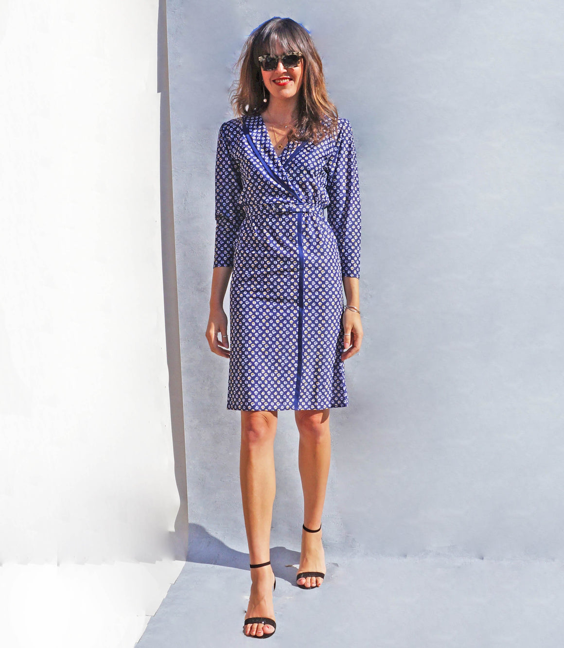 Vintage 1980s Blue Patterned Wrap Dress - Ada's Attic Vintage -