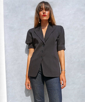 Vintage 1980s Short Sleeve Navy Escada Wool Blazer - Ada's Attic Vintage -4