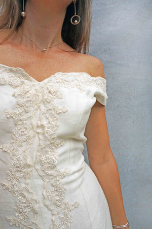 Vintage Simple Lace Bardot Wedding Dress - Ada's Attic Vintage - 2