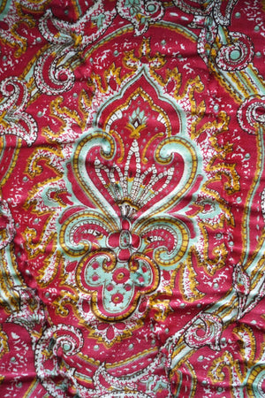 Antique 1910 Pink + Green French Paisley Boutis Quilt - Ada's Attic Vintage - 4