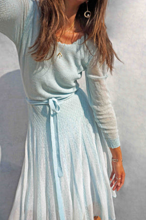 Vintage 70s Pastel Blue Crochet Sweater Dress - Ada's Attic Vintage - 4