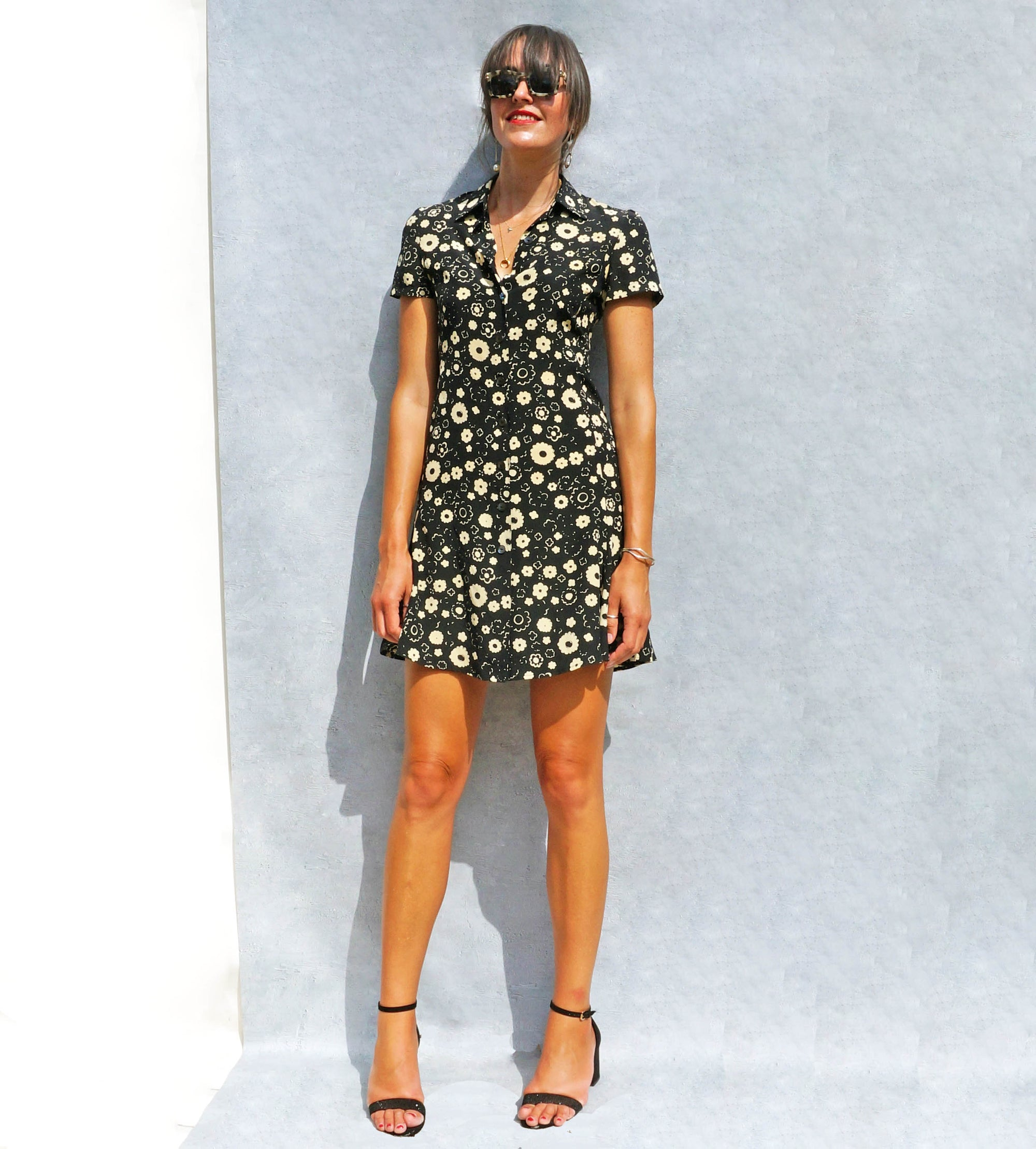 90s Silk Black Floral Max Mara Shirt Dress - Sustainable Fashion Brand UK - Ada's Attic Vintage -