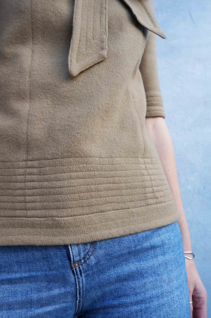 Vintage Khaki Winter Wool Top - Ada's Attic Vintage - 5