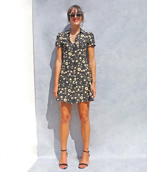 90s Silk Black Floral Max Mara Shirt Dress - Sustainable Fashion Brand UK - Ada's Attic Vintage - 8